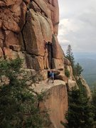 Rock Climbing Photo: Todd on North 40, with High Plains Poser on the le...