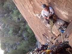 Rock Climbing Photo: P4- on lead in alcove.