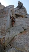 Rock Climbing Photo: Start of our final pitch. Crux is just above