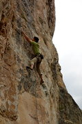 Rock Climbing Photo: Jake, crimping through the upper part of the route...
