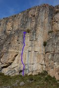 Rock Climbing Photo: The route in blue.