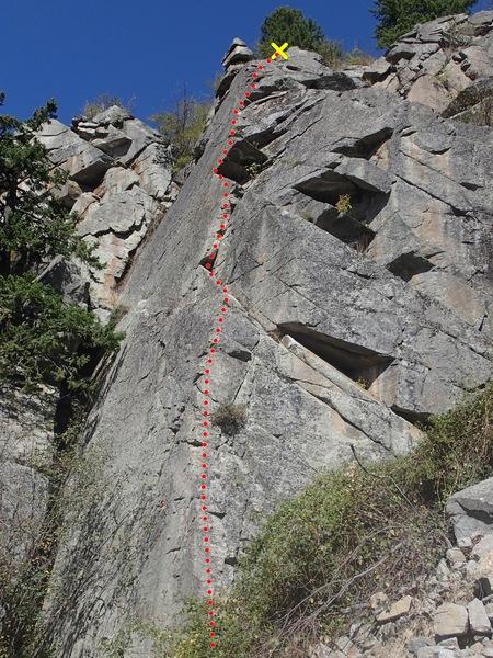 Rock Climbing Photo: The Jagged Edge topo
