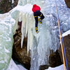 Climbing the left side at Jewell Lake ice.