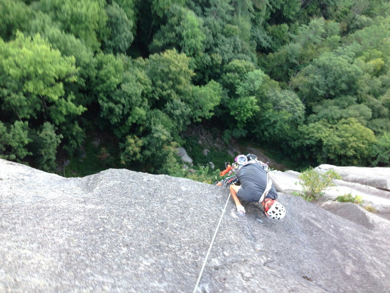 Rock Climbing Photo: Mantling onto the pitch 4 slab. The bolt is direct...
