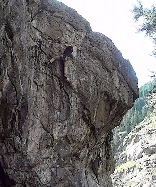 Rock Climbing Photo: Will Gordon on the FA entering the short crux sect...