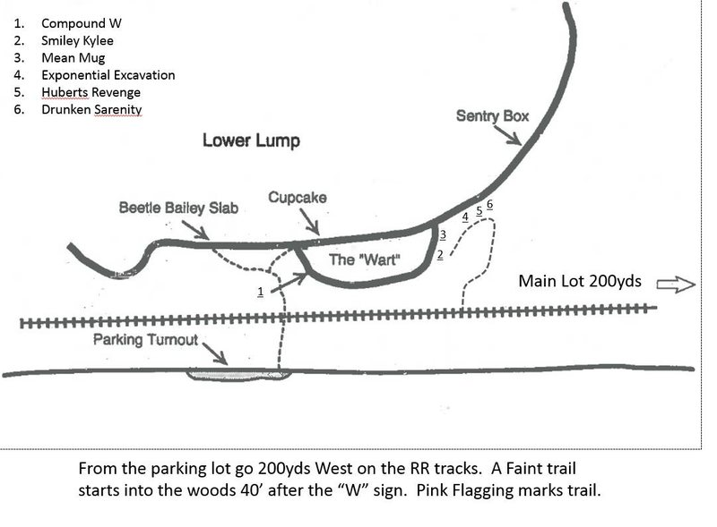 Layout of new climbs in the Lower Lump Area