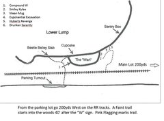 Rock Climbing Photo: Layout of new climbs in the Lower Lump Area