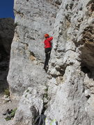 Rock Climbing Photo: Unknown climber starting dihedral on Torre Inglesi...