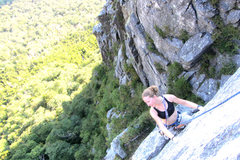 Rock Climbing Photo: Torie peeping the traverse across the front of the...