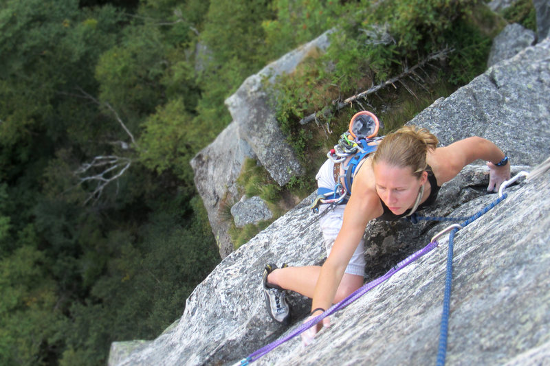 Rock Climbing Photo: torie on the exposed finish of a variation on the ...