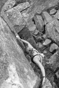 Rock Climbing Photo: Torie breaking from the standard chimney route to ...