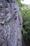 Rock Climbing Photo: Kris working the over hanging section near the top...