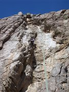 Rock Climbing Photo: Carrie top roping the second pitch on the first as...