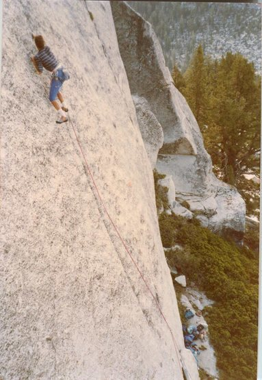 Photo from Guy Reese of Kris Solem climbing Seamstress, 5.12