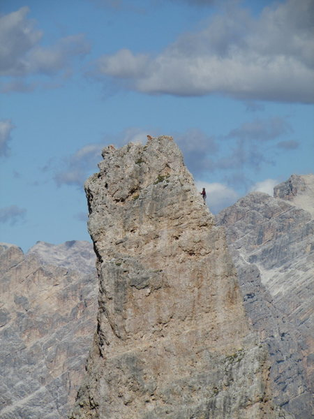 Unknown climber, topping out on Torre Inglesi.