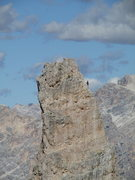 Rock Climbing Photo: Unknown climber, topping out on Torre Inglesi.