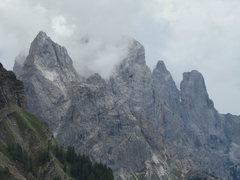 Rock Climbing Photo: Looking towards Cima della Madonna, and Sass Maor;...