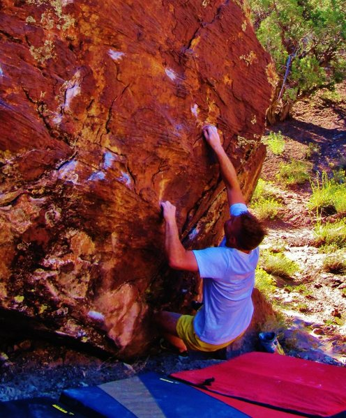 Rock Climbing Photo: Sticking the second move to the great edge on West...
