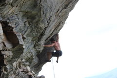 Rock Climbing Photo: Greg Loomis holding the first reach crux.  Photo b...