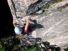 Rock Climbing Photo: Jen topping out Madamoiselle LeBois with no troubl...