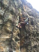 Rock Climbing Photo: Stevie J pulling hard