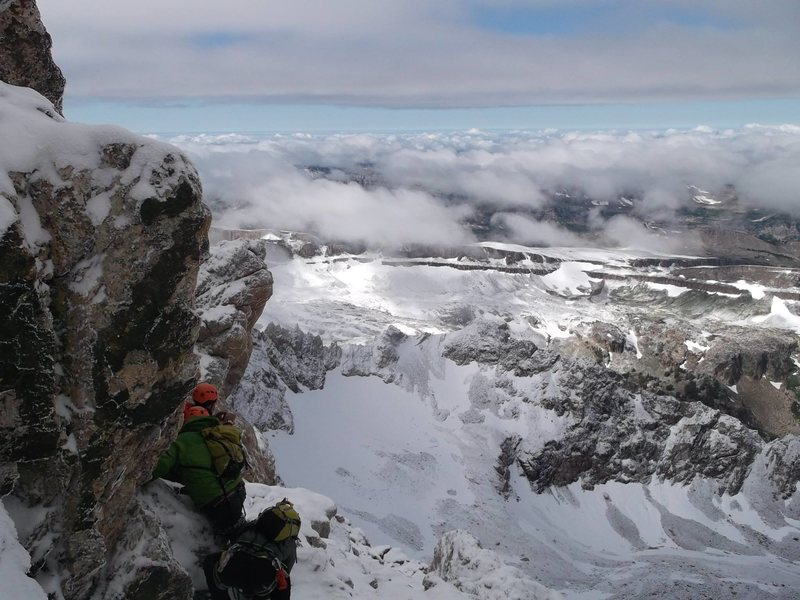 Scraping a friend's photo of Grand Teton Labor Day weekend.  The wettest year I can remember in CO looks like its setting up the wettest, fattest, earliest and best ice year in decades.  Deadhangs and tool mobililty drills have begun.