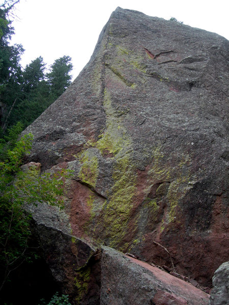 This is on the Argonaut, at the bottom of the drainage in Skunk Canyon.  The route is the pretty East Side, 11+, 6 bolts.