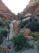 Rock Climbing Photo: Follow wash until past these rocks, then head left...