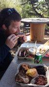 Ryan eating bbq