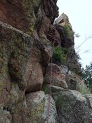 Rock Climbing Photo: Looking up the crux pitch 3 adorned with flowers. ...
