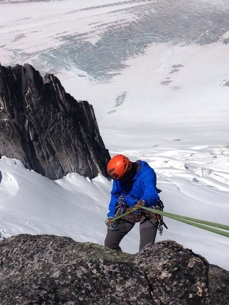 First rappel off South Howser Summit, July 2014