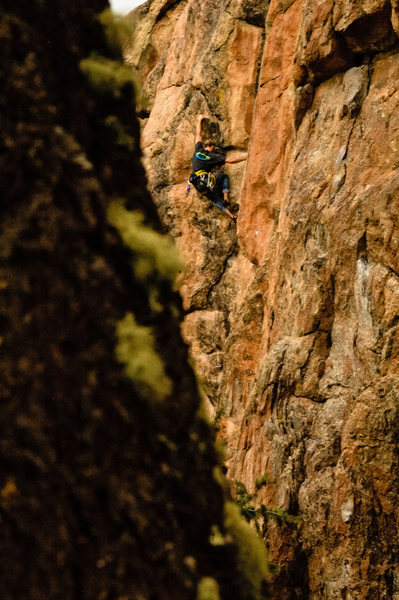 Rock Climbing Photo: Bradford Swanson near the top of Persnickety.