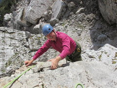 Rock Climbing Photo: Completing pitch 1 on Torre Quarta Bassa.