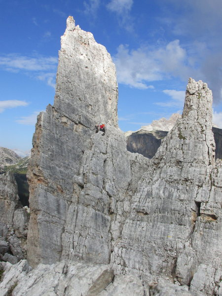 Unknown climbers at belay ledge on Torre Inglesi.