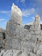 Rock Climbing Photo: Unknown climbers at belay ledge on Torre Inglesi.