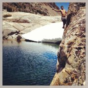 Rock Climbing Photo: about 15 ft. above the lake