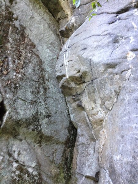 Not the best picture of the route...but it gives a decent view of the crux bulge.