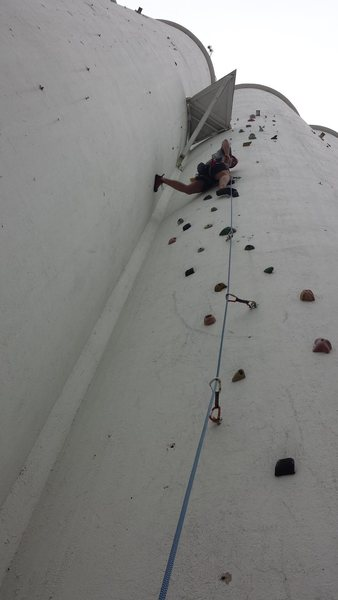 Mark Church leads a 5.9 outside of the North Texas Outdoor Pursuit Center. (We call the place: The Silos).