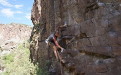 Dave climbs past the first crux.