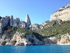 Rock Climbing Photo: Aguglia de Goloritze from the boat. The fun approa...