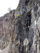 Rock Climbing Photo: End of first pitch and the belay ledge. Photo from...