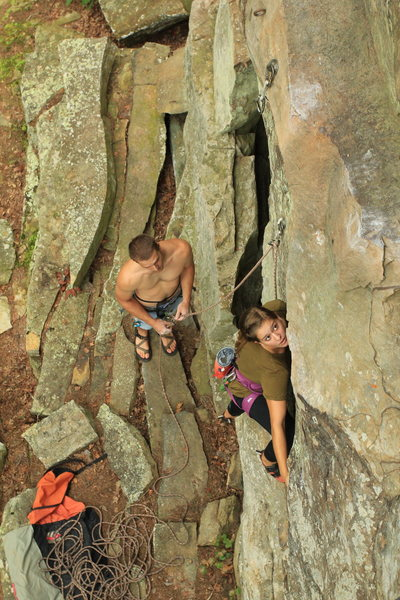 Climbers Chase Webb and Judith Brown on Trail of Fears. Photo by Anthony Johnson