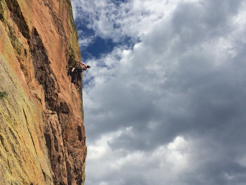 Rock Climbing Photo: At the crux....  (Photo by Chandler.)