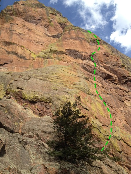 The beautiful West Face of the Goose, with Golden Goat roughly following the green line.