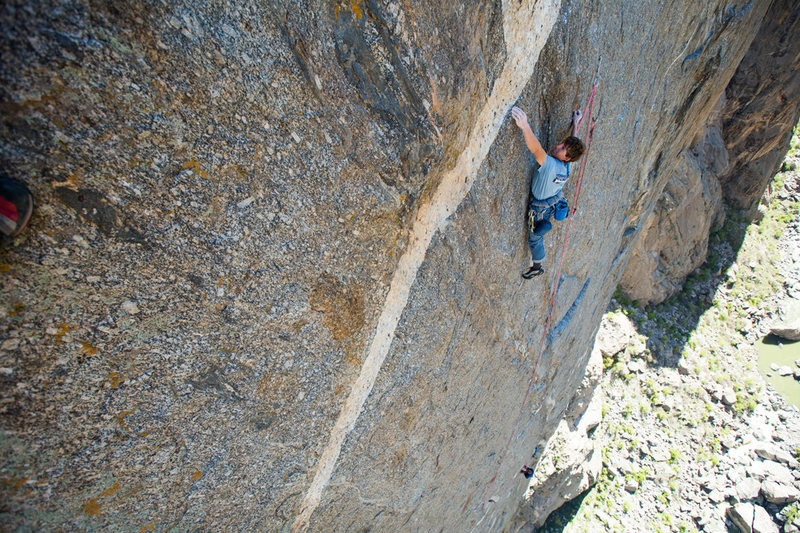 Nearing the top of pitch 7.<br> <br> Andrew Burr photo.