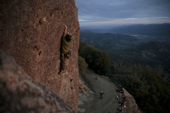 Rock Climbing Photo: david gets a last minute tr send, sunset fuel on s...