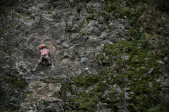Rock Climbing Photo: chris above the column, facing whats left of the e...