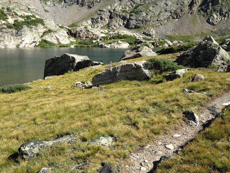 Rock Climbing Photo: Reynolds Boulder slab shows at the left side of th...