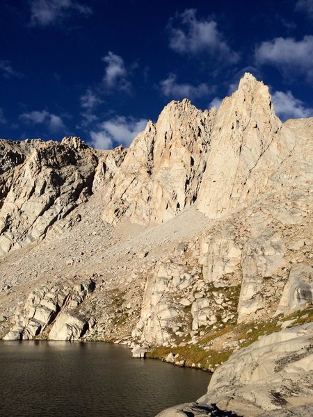 Mt Irvine and the impressive East Buttress with Upper Meysan Lake below