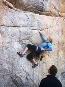 Rock Climbing Photo: Spicy move to first bolt